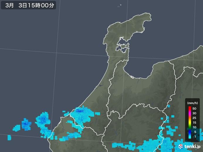 石川県の雨雲レーダー(2019年03月03日)