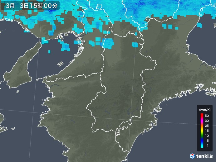 奈良県の雨雲レーダー(2019年03月03日)
