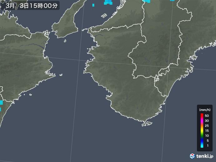 和歌山県の雨雲レーダー(2019年03月03日)