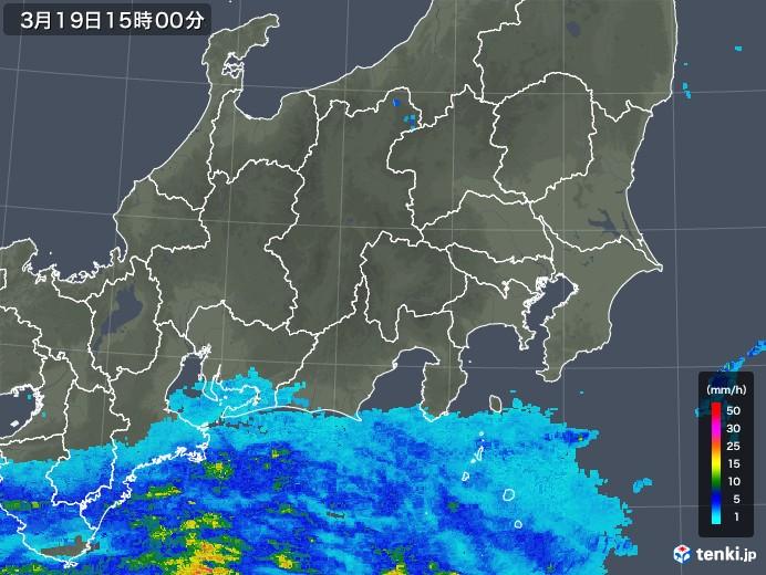 関東・甲信地方の雨雲レーダー(2019年03月19日)