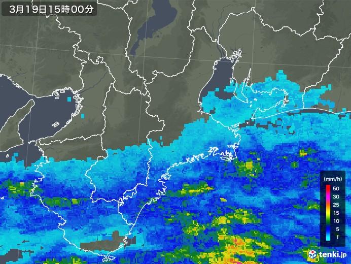 三重県の雨雲レーダー(2019年03月19日)
