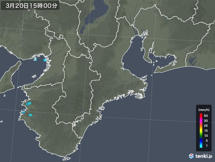 三重県の雨雲レーダー(2019年03月20日)