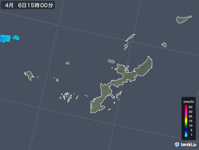 沖縄県の雨雲レーダー(2019年04月06日)