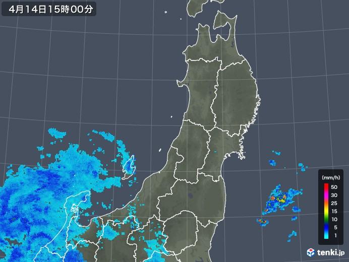 東北地方の雨雲の動き(2019年04月14日)