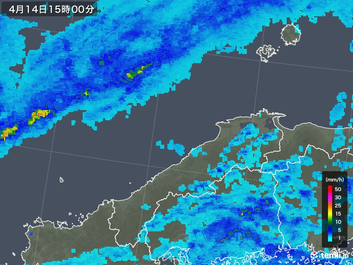 島根県の雨雲の動き(2019年04月14日)