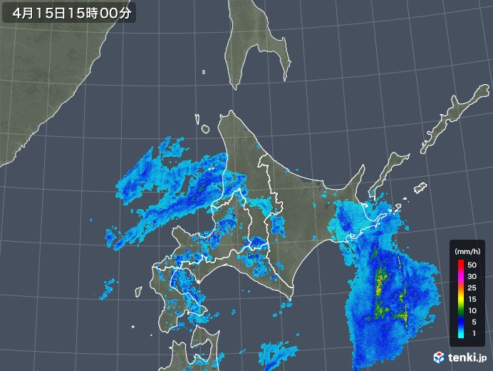 北海道地方の雨雲の動き(2019年04月15日)