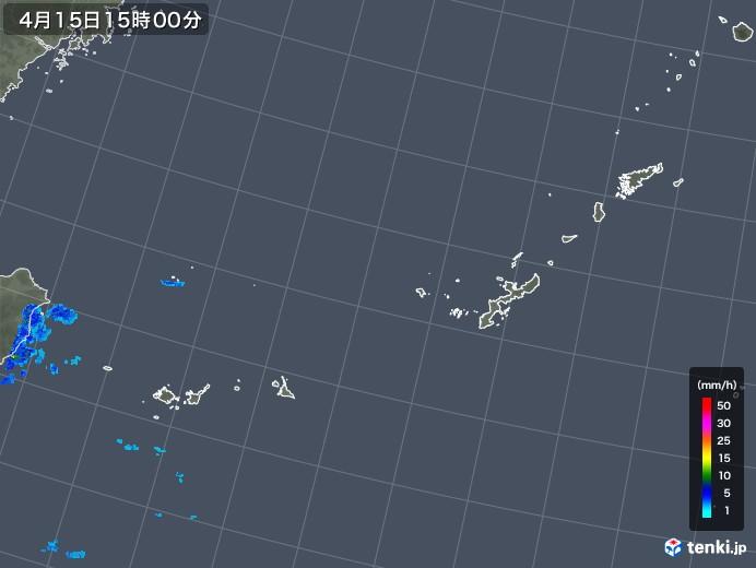 沖縄地方の雨雲の動き(2019年04月15日)