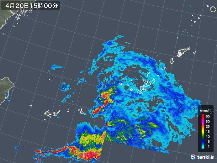 沖縄地方の雨雲の動き(2019年04月20日)
