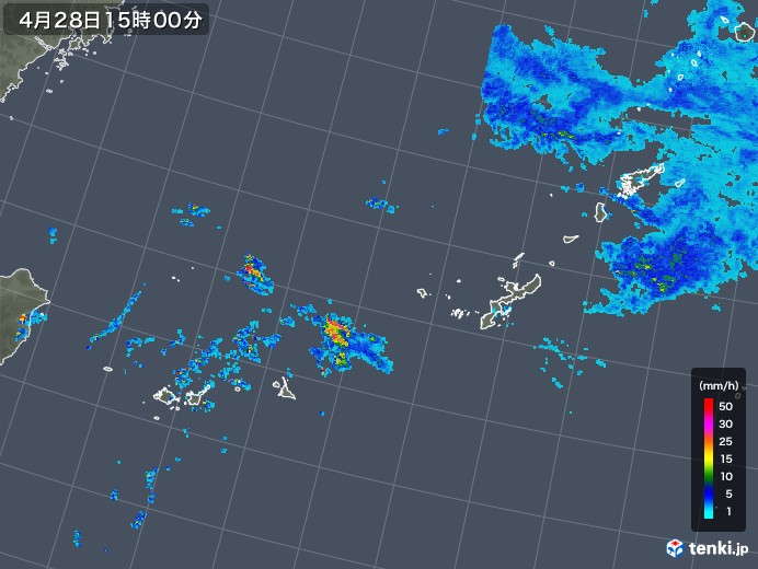 沖縄地方の雨雲レーダー(2019年04月28日)
