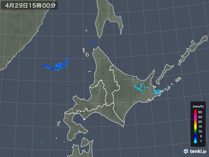 北海道地方の雨雲の動き(2019年04月29日)