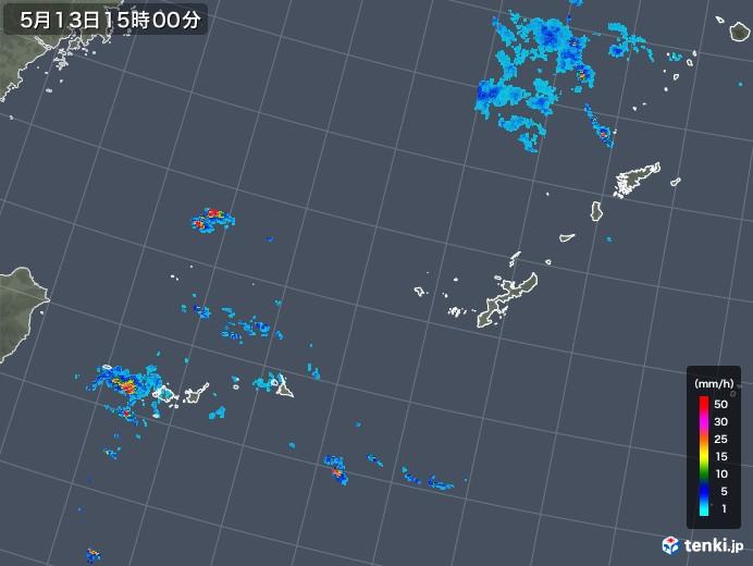 沖縄地方の雨雲の動き(2019年05月13日)