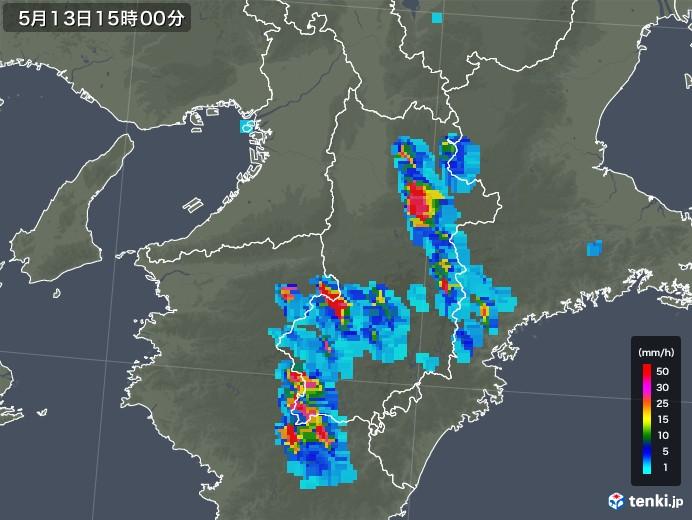 奈良県の雨雲の動き(2019年05月13日)