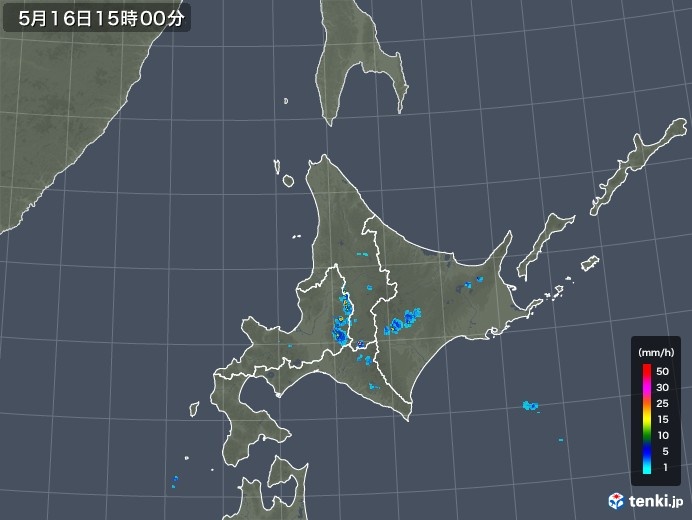 北海道地方の雨雲の動き(2019年05月16日)