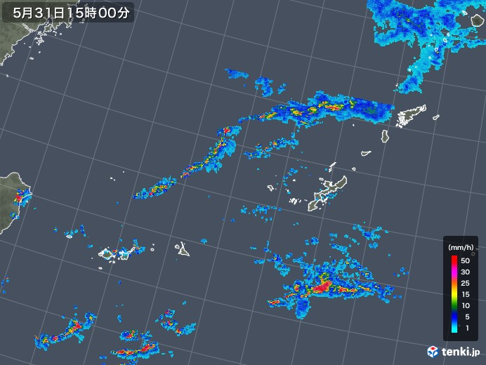 沖縄地方の雨雲レーダー(2019年05月31日)