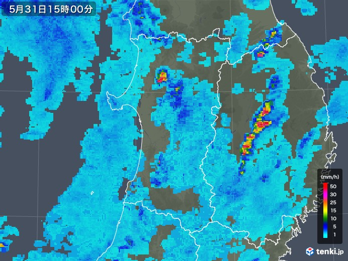 秋田県の雨雲の動き(2019年05月31日)
