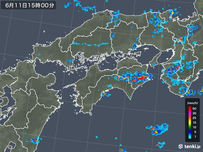 四国地方の雨雲の動き(2019年06月11日)