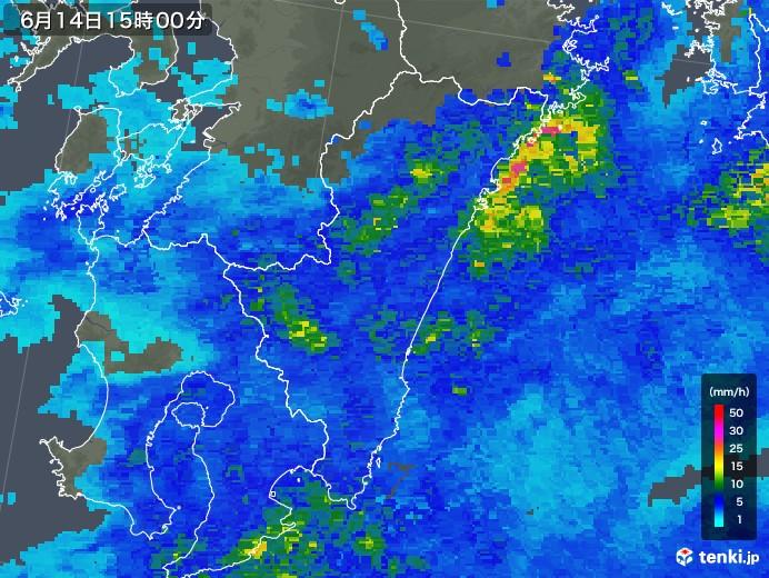 宮崎県の雨雲の動き(2019年06月14日)