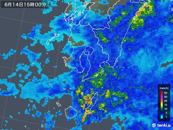 鹿児島県の雨雲の動き(2019年06月14日)