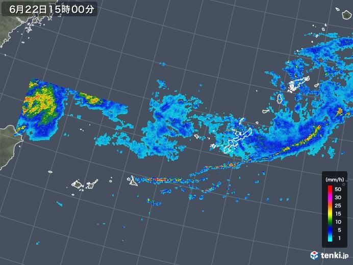 沖縄地方の雨雲の動き(2019年06月22日)