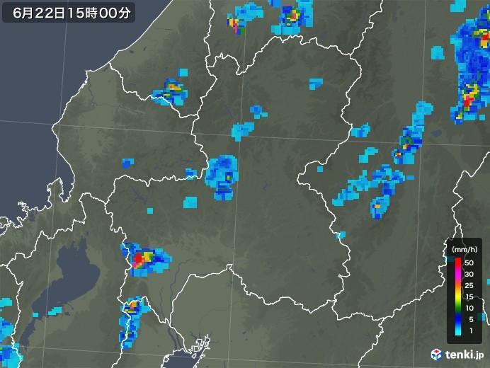 岐阜県の雨雲レーダー(2019年06月22日)