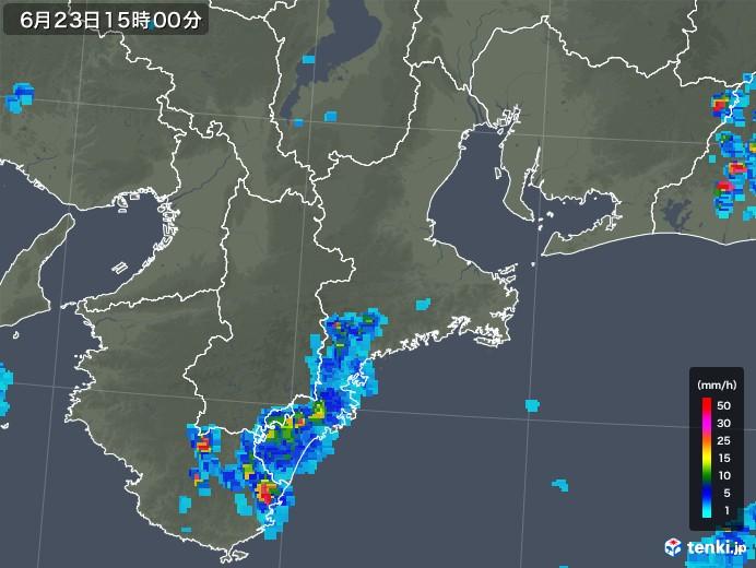 三重県の雨雲レーダー(2019年06月23日)