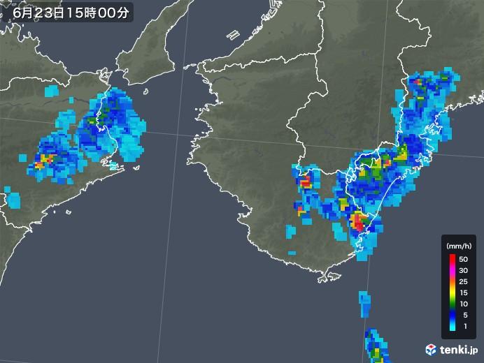和歌山県の雨雲レーダー(2019年06月23日)