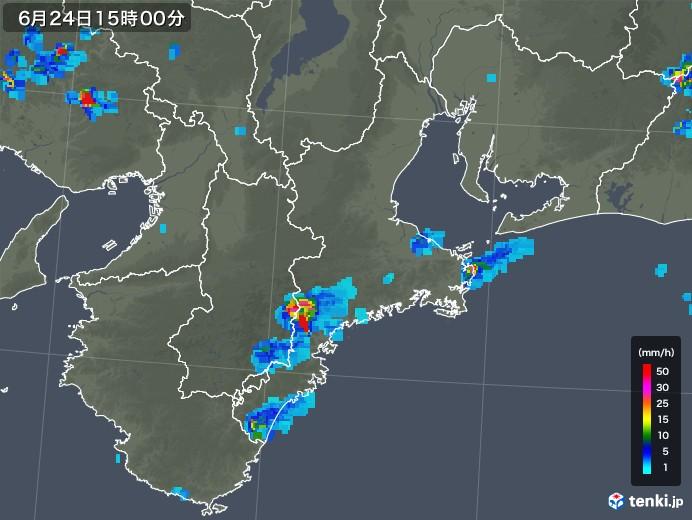 三重県の雨雲レーダー(2019年06月24日)