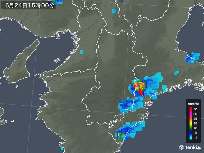 奈良県の雨雲レーダー(2019年06月24日)