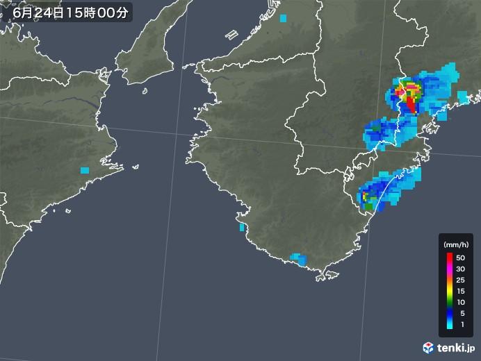 和歌山県の雨雲レーダー(2019年06月24日)