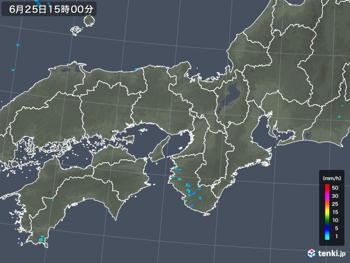 近畿地方の雨雲レーダー(2019年06月25日)