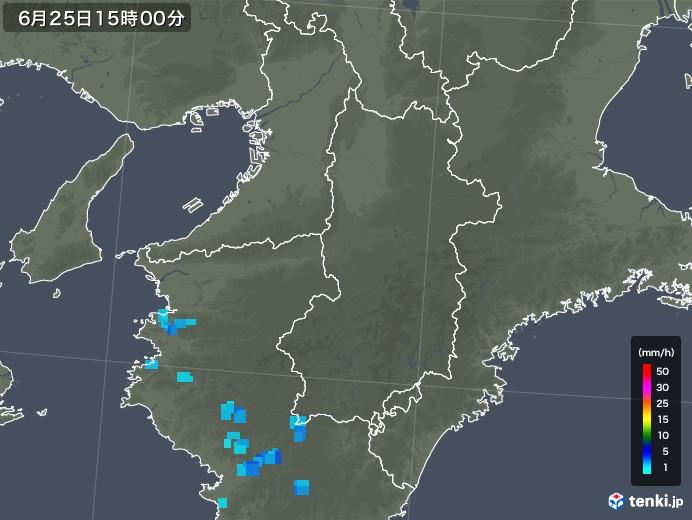 奈良県の雨雲レーダー(2019年06月25日)