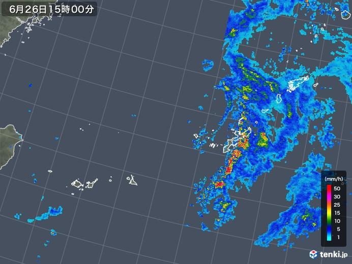 沖縄地方の雨雲の動き(2019年06月26日)