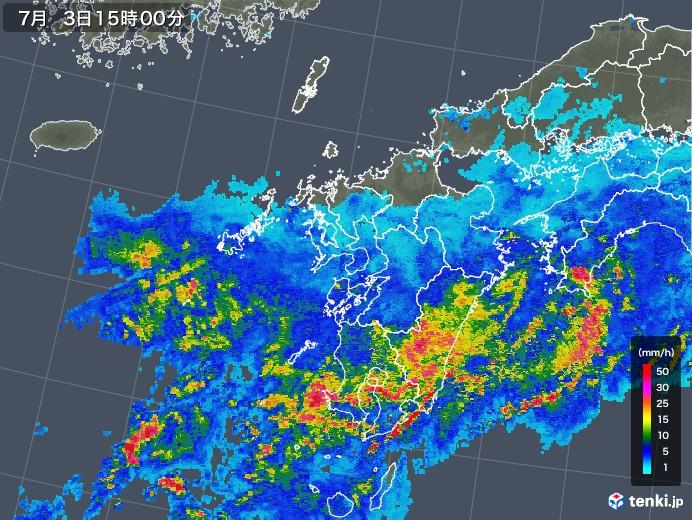 九州地方の雨雲の動き(2019年07月03日)