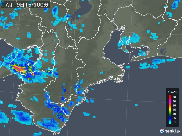 三重県の雨雲レーダー(2019年07月09日)