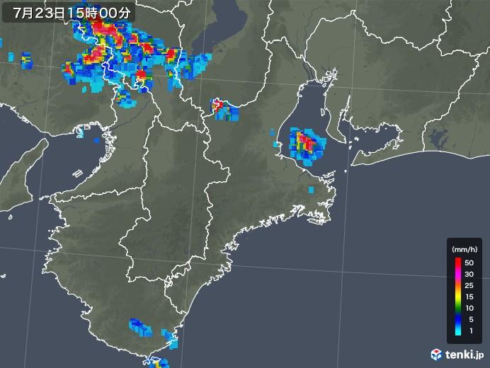 三重県の雨雲レーダー(2019年07月23日)