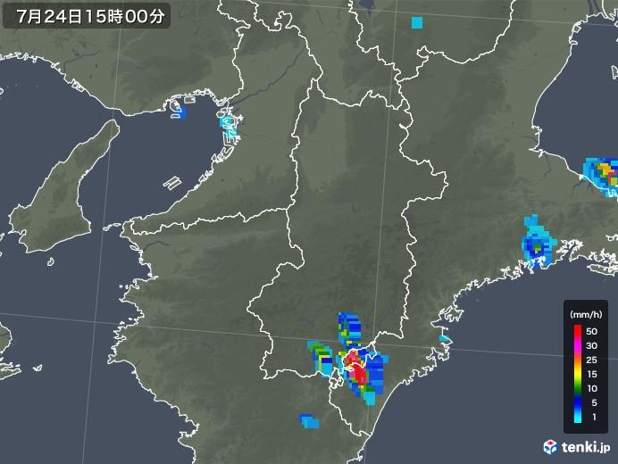 奈良県の雨雲レーダー(2019年07月24日)
