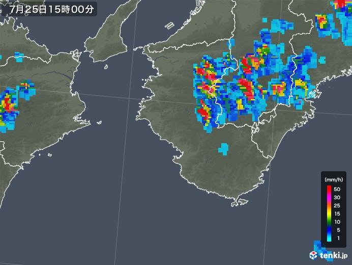 和歌山県の雨雲レーダー(2019年07月25日)