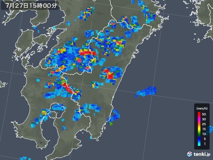宮崎県の雨雲レーダー(2019年07月27日)