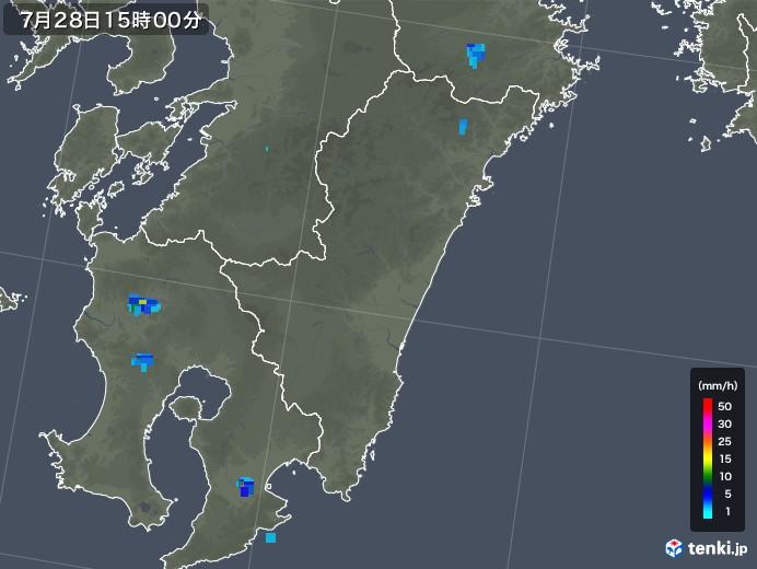 宮崎県の雨雲レーダー(2019年07月28日)