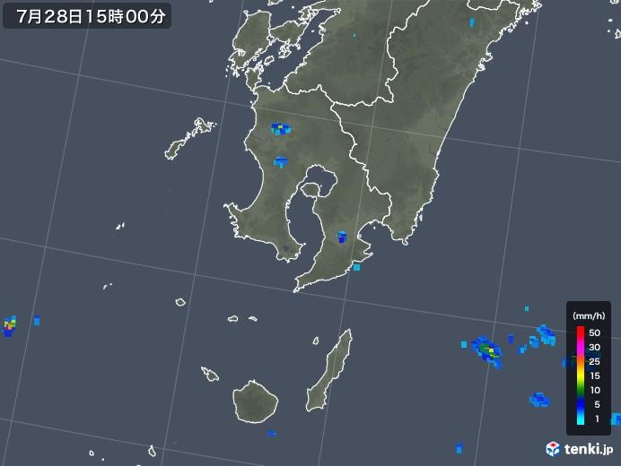 鹿児島県の雨雲レーダー(2019年07月28日)