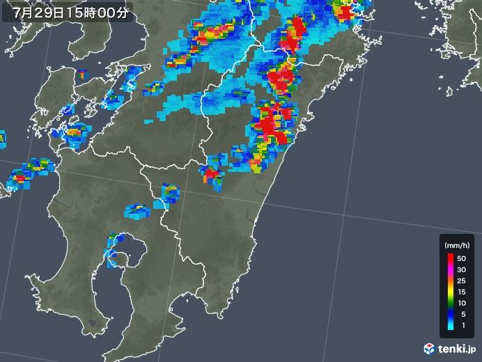 宮崎県の雨雲レーダー(2019年07月29日)