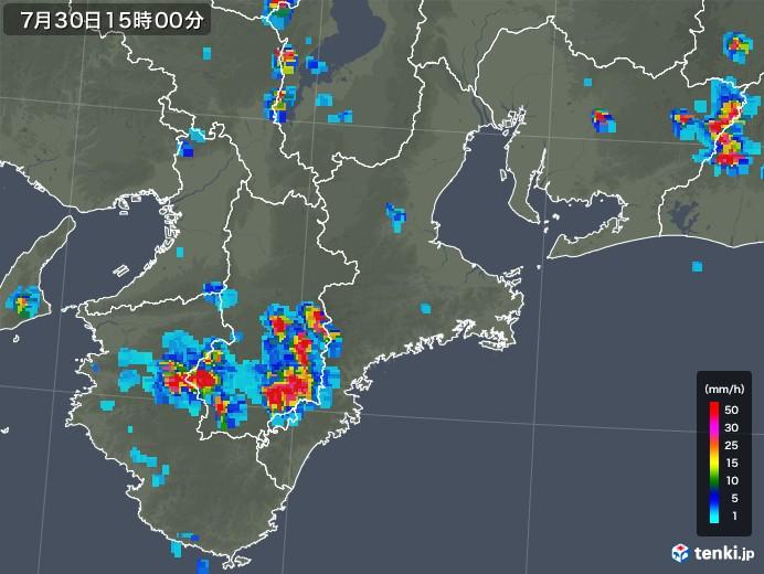 三重県の雨雲レーダー(2019年07月30日)