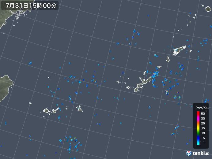 沖縄地方の雨雲レーダー(2019年07月31日)