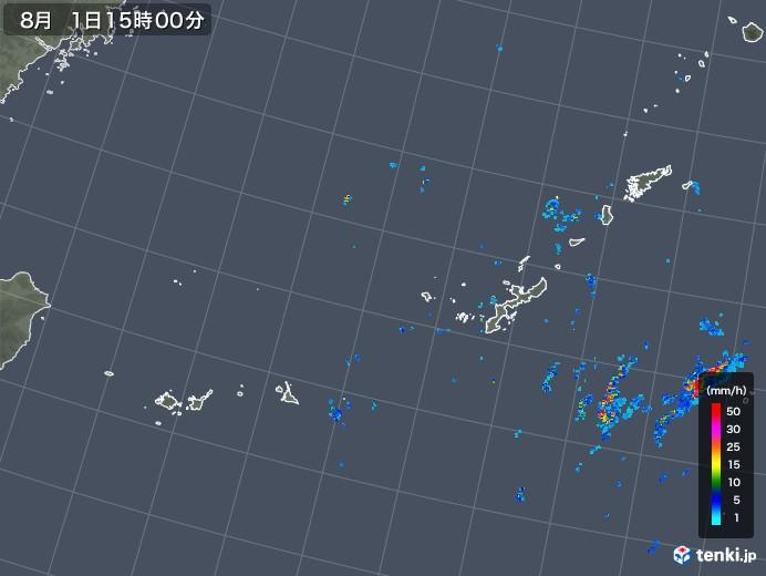 沖縄地方の雨雲レーダー(2019年08月01日)