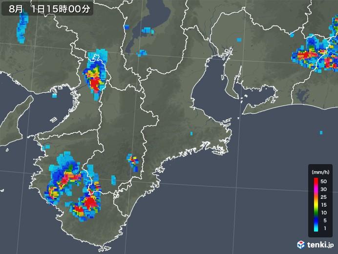 三重県の雨雲の動き(2019年08月01日)