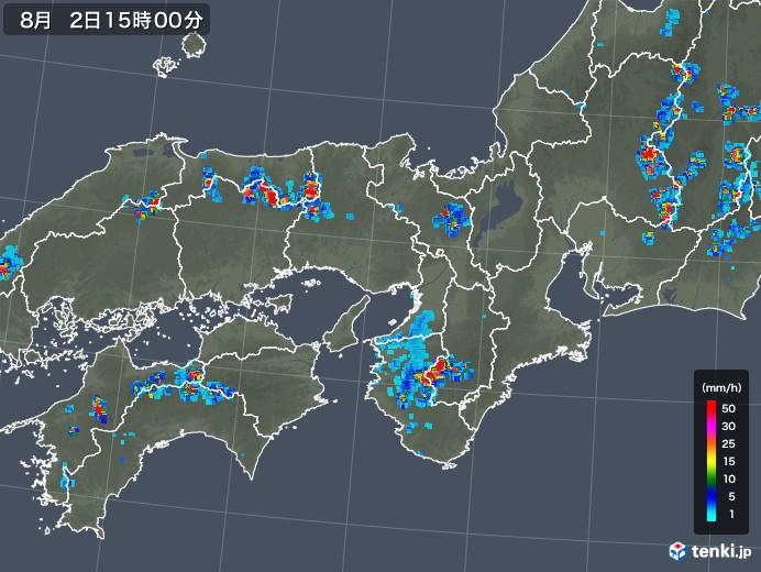 近畿地方の雨雲レーダー(2019年08月02日)