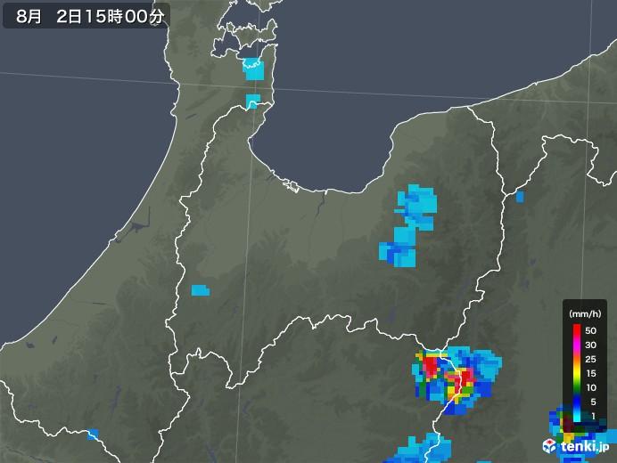 富山県の雨雲レーダー(2019年08月02日)