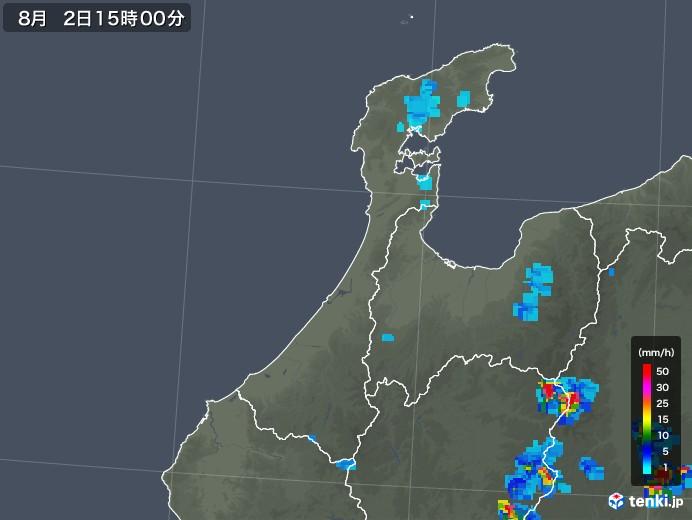 石川県の雨雲レーダー(2019年08月02日)