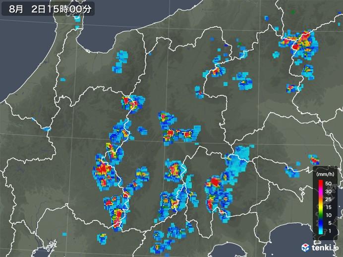 長野県の雨雲レーダー(2019年08月02日)