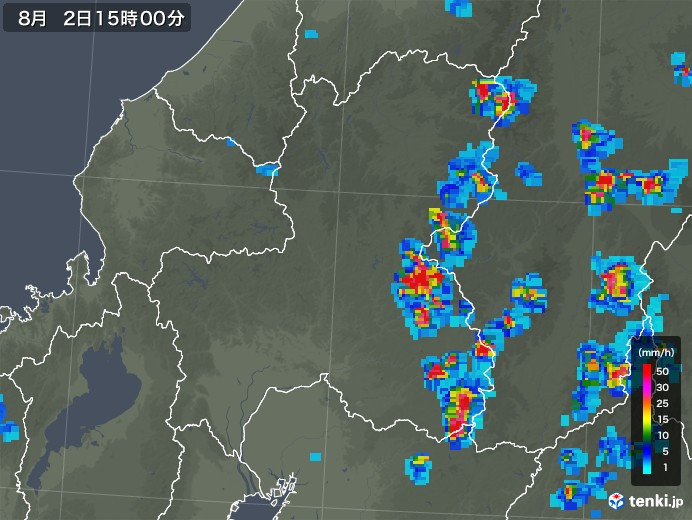 岐阜県の雨雲レーダー(2019年08月02日)